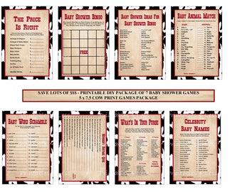 Western Baby Shower Game, Cowboy Baby Shower Printable, Cowgirl Shower Game, Cow Print Game, Western Game, Cowboy Game - Printables 4 Less