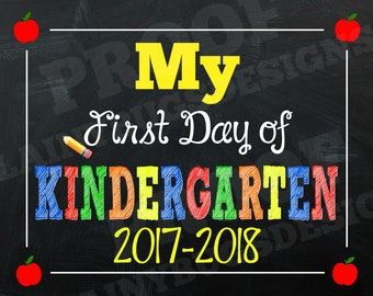 First Day of Kindergarten Chalkboard - Digital - Instant Download - First Day of School Sign - Kindergarten Sign - First Day of School