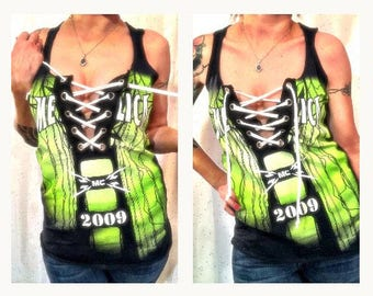 Metallica altered original tee, Hardwired... to Self-Destruct, 90s metal chick, metallica womens shirt, gift for her, lace up