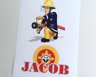 Fireman Sam Personalised Print