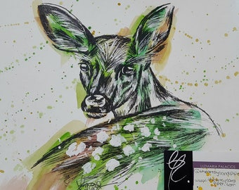 Print Watercolor and ink fawn painting