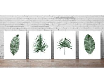 Palm Leaf Watercolour Painting set 4 Art Prints Green Botanical Print Living Room Decor, Banana Date Coconut Palm Tree Four Illustration