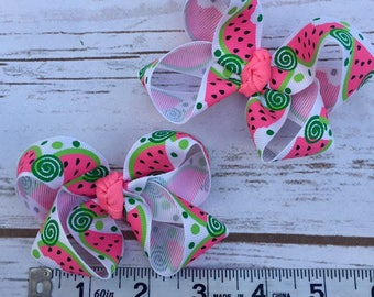 Watermelon Twisted Mini pigtail bow set