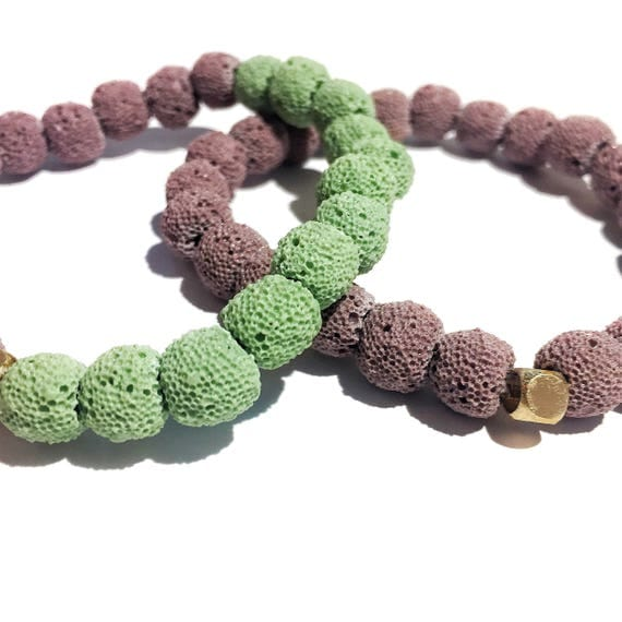 Resilience Stack:Green and Purple Raw Lava Stone Oil Diffuser Beaded, Aroma Therapy, Custom, Mala, Yoga, Meditation, Unisex, Men, Women