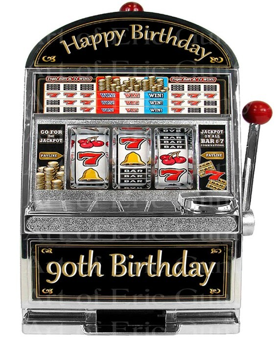 Las Vegas Happy 90th Birthday Slot Machine - Edible Cake and Cupcake Topper For Birthday's and Parties! - D22770