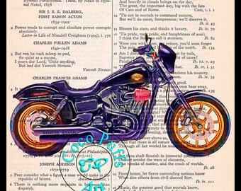 2017 Dark Blue Softail Low Rider HD Motorcycle Art - Vintage Dictionary Book Page Art Upcycled Page Art Drawing