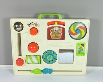 Vintage Fisher Price Musical Activity Center #134 1973 - Vintage Fisher Price busy box - Fisher Price Crib Toy Activity Center