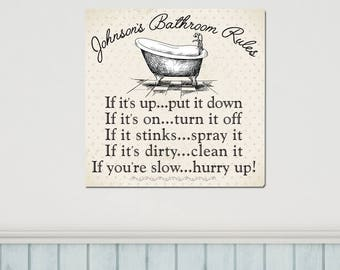 Bathroom Rules Canvas, Personalized, Humorous