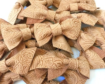 Cork Textured Floral Stella Leather Bow
