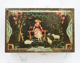 Mary Had a Little Lamb Tin Box - Antique colorful Jewelry Box