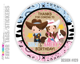 FVTAGS2-829: DIY - Cowboy and Cowgirl Favor Tags Or Stickers