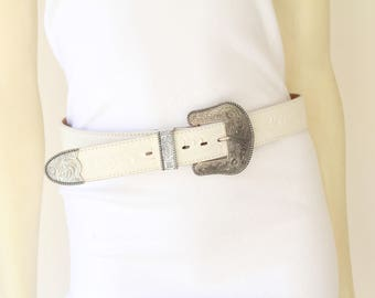 Early 90's White Tooled Leather Silver Detail Saddle Western Belt