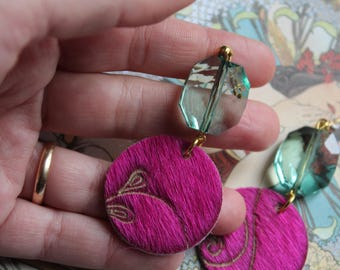 purple ponyskin earrings with resin