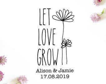 """Let Love Grow Stamp, Wedding Favours, Custom Wedding Stamp, Personalised Save the Date Stamp, Flower Seed Packet Favors, 1.6""""x3"""" (cts77)"""