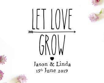"Let Love Grow Rubber Stamp, custom names and date stamp, wedding favors stamp, love stamp, seed favors stamp, let love grow, 1.5""x2"" (cts65)"
