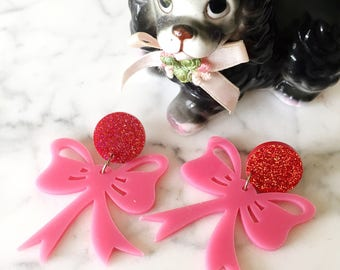 Pink Bows Dangles
