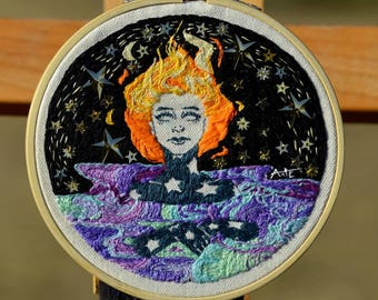 Galaxia, 5 in Hand Embroidered Thread Painting