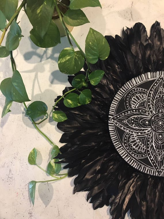 Black Magic Mandala Black Feathers Round Wall Art,  grey white Boho Design,  Timber Porthole