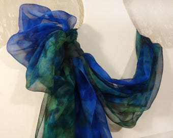 Hand painted silk scarf Blue green long hand dyed shawl wrap Handpainted summer sheer chiffon scarves Wedding Evening prom
