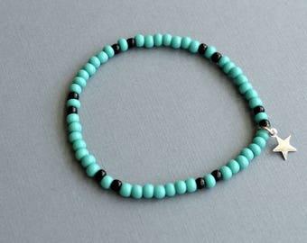 Beaded Turquoise Stretch Bracelet, Star Charm Bracelet, Friendship Bracelet, Gift Under 10 Dollar, Gift For Her, Bohemian Bracelet, Yoga .