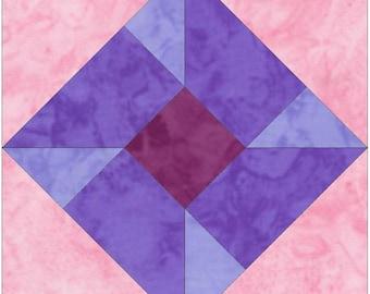 HC Pinwheel 10 Inch Paper Piece Foundation Quilting Block Pattern PDF