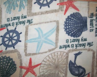 Beach Seashore Fleece Fabric 1 yard + 32 inches RARE VHTF