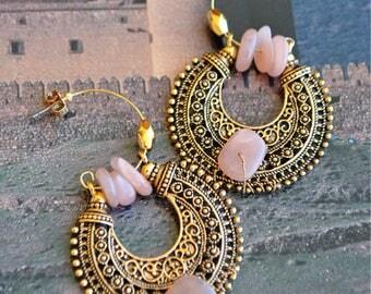 Earrings Golden tribal ring style ethnic Sun stone