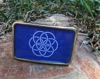 belt buckle seed of life attire mens belt buckle  silver resin Belt buckle women's  belt buckle zen hippie