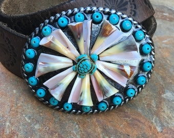 turquoise belt buckle stone sea turtle jewelry sea shells belt buckle bohemian belt buckle artisan embellished belt buckle beach accessories