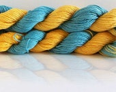 Hand Dyed Yarn | Gold & Turquoise | Organic Cotton Yarn | Sport Weight and Machine Washable yarn | 50 grams per hank | Hand Dyed Yarn