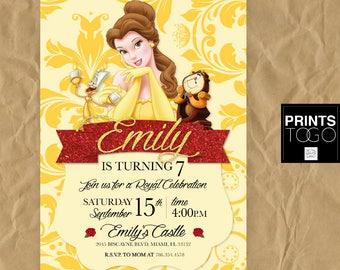 Princess Belle Invitation, Princess Party Invitation, Princess Belle Party Invite, Princess Belle Birthday invitation, Beaty and the Beast