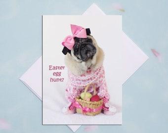 Funny Easter Card - Easter Egg Hunt - Pug Card  - 5x7