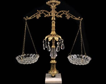"""Vintage Brass Scales of Justice with Cut Glass Trays and Teardrop Prisms, 19.5"""" Tall, Hollywood Regency Decor"""