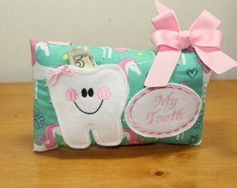 Personalized Tooth Pillow - Tooth Fairy Pillow - Tooth Pillow - Pocket Pillow - Unicorn Pillow - Gift for Girl - Party Gift for Girl