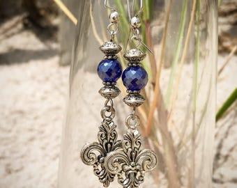 Blue Crystal Fleur de Lis Dangle Earrings