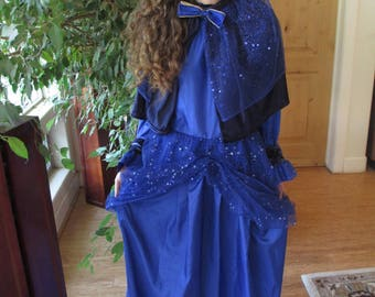 Fairy Godmother Gown, Cinderella, Blue Dress, Wings, Dolman sleeves, Sparkely Size Med to Large - ***2nd Fairy Godmother Gown