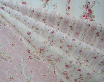 "Bundle of 1/8 Quilt Gate Mary R Collection Beautiful Victorian Stripe and Roses Set. Approx. 9"" x 21"" Made in Japan"