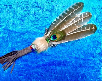 Smudge Feather Fan / Smudge Fan, Prayer Fan / Wand for Smudging, Cleansing, Healing and Ceremonial / Ritual Uses.
