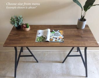 Long Desk Or Narrow Dining Table, Long Table. Handfinished Wood On Metal  Ikea Legs