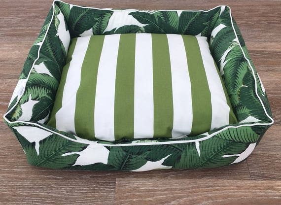 Lounger style Dog Bed   - 'Tommy' design in Green and White tropical print and green and white stripe reversable insert cover