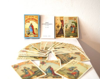 Vintage Tarot Cards / French Tarot Cards / Tarot Cartomancy Deck / Le Jeu Destin Antique Fortune Teller Cards / Set of 32 Oracle Cards