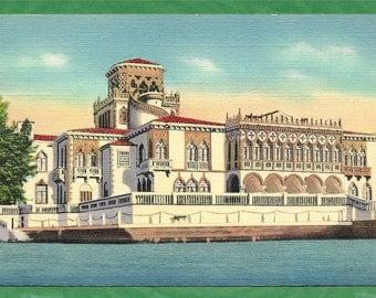 Vintage Linen Postcard - The Beautiful Mansion of John Ringling on Sarasota Bay, Sarasota, Florida  (2890)