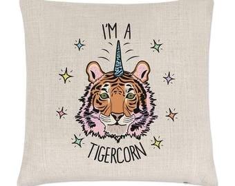 I'm A Tigercorn Linen Cushion Cover