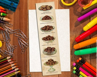 Shabby chic chocolate bookmark. Vintage bookmarks. Chocolate bookmark #3. Paper bookmark. Food bookmark. Book lover gift. Food art print