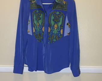 1980s // 80s Vintage Eighties Howard Wolf Blue Long Sleeve Button Up Blouse