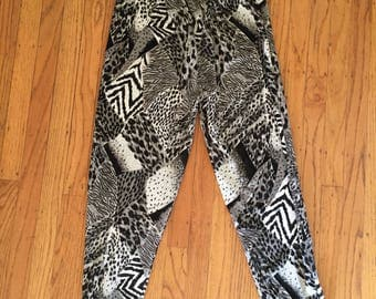 80s animal print faux velvet leggings