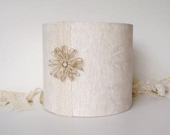 Lampshade Marks and Spencer Cream Ivory Linen Leaf fabric lace and flower 20cm drum lamp shade