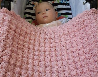Pink handmade extra thickness crochet baby blanket. Ideal shower gift. New baby gift.
