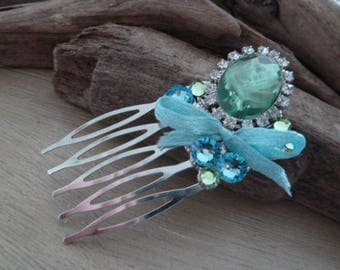 Hair clip sparkly blue and green rhinestones