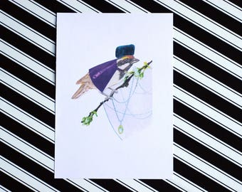 The Russian - A5 Colour - Classy Bird Fashion Print - Eco Friendly - Recycled Paper